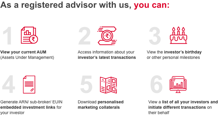 As a registered advisor with us, you can:
